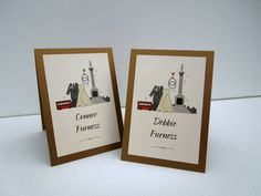 Wedding stationery/placecarsd dedicated to the iconic location of Trafalgar Square in London, WC2. Many a groom, on bended knee has popped the question under the steely gaze of Nelsons Column! http://www.bunnydelicious.com