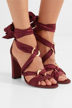 Heel measures approximately 90mm/ 3.5 inches Burgundy satin Ties at ankle Designer color: Cerise/ Granate Imported