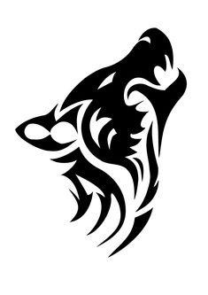 Wolf head tribal tattoo stencil 1 (click for full size)