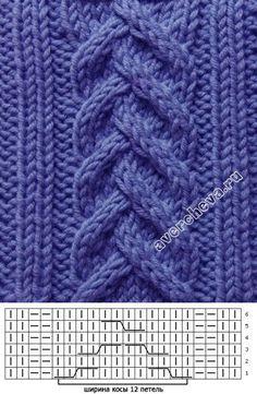 узор 380 коса «колосок» | каталог вязаных спицами узоров