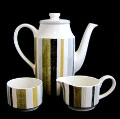 Modernist Midwinter Coffee Set, Mid Century Modern Midwinter Staffordshire UK Queensberry Striped Banded Coffee Set 1960s