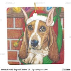 Basset Hound dog with Santa Elf Ear in Stocking Square Ornament