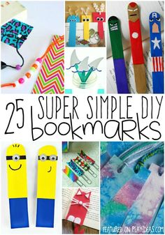 25 Super simple DIY bookmarks - Minions, Superheroes - tutorial for lots of fun craft bookmarks for kids