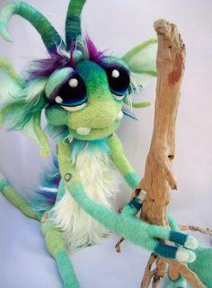 Water Goblin Needle Felted Fantasy Soft Sculpture Art Doll Plush:
