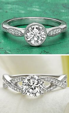 I love the detailed bands on these Brilliant Earth engagement rings!