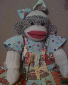 Adorable Folk Art Sock Monkey Doll by primitivewishfuls on Etsy