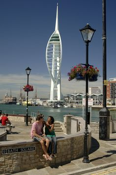 The Spinnaker Tower is the landmark of Portsmouth. It is 170 metres tall! Such a lovely view :)) Portsmouth England, Portsmouth Harbour, Relaxing Holidays, Isle Of Wight, Southampton, Small Towns, Hampshire, Countryside, Britain