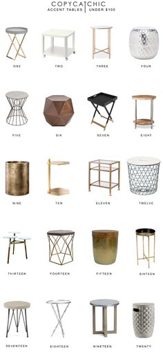 Our favorite accent tables, nightstands, side tables and end tables for under $100 | copycatchic luxe living for less budget home decor and design http://www.copycatchic.com/2017/03/home-trends-accent-tables-under-100.html?utm_campaign=coschedule&utm_sour https://emfurn.com/collections/vintage-chic