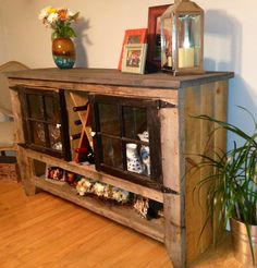 I designed this buffet from two small doors, it was made for a narrow dinning room from reclaimed wood. All wood was left a natural color except the top which was stained a dark gray.