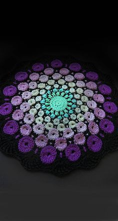 New release, the stone mandala crochet pattern by goolgool. Overlay crochet project, all the circles are worked as you go. The stone mandala was inspired by the amazing work of Elspeth McLean. Motif Mandala Crochet, Crochet Motifs, Crochet Squares, Crochet Round, Crochet Doilies, Crochet Flowers, Crochet Stitches, Doily Patterns, Crochet Blanket Patterns