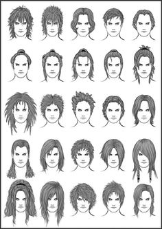 Mens Hair Set  Different Hairstyles For Boys Character Design Anddrawing Reference