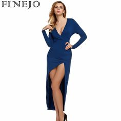 56beb91e4e FINEJO Spring Women Hoody Maxi Dress Long Sleeve Deep V neck High Slit  Party Solid Gray