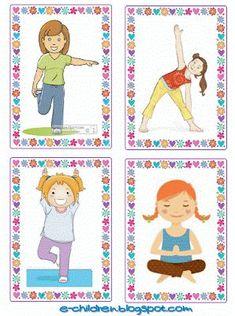 Ώρα για να ξεμουδιάσουμε! Πλαστικοποιούμε και κόβουμε τις παρακάτω 44 κάρτες. Τις ανακατεύουμε και τις ανοίγουμε σαν βεντάλια από την ανάποδη. Έρχεται ένα παιδί και διαλέγει στην τύχη μία. Την παρατηρ Body Preschool, Preschool Education, Preschool Learning Activities, Therapy Activities, Physical Activities, Physical Education, Kids Learning, Gross Motor Activities, Gross Motor Skills