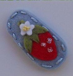 Mini Strawberry Blue Wool Felt Baby Snap Hair Clip
