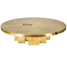 Spectacular circular coffee table, circa by Jean-Claude Dresse - ). Inlaid gilt brass mosaic on wood structure.