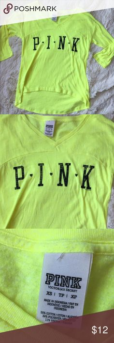 "VS PINK top XS Victoria's Secret PINK neon hi lo top. 3/4 sleeves, longer in the back. Size XS. Bust measures approx 16"" length approx 20"" EUC!! PINK Victoria's Secret Tops"
