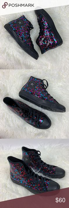 Spotted while shopping on Poshmark  Converse Sequin High Top Sneakers Size  8!  poshmark bb65ad00a816