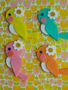 1 Wool Felt Retro Birdie Hanging Decoration Apricot by aliceapple: Bird Crafts, Foam Crafts, Craft Stick Crafts, Paper Crafts, Handmade Crafts, Diy And Crafts, Crafts For Kids, Arts And Crafts, Felt Birds
