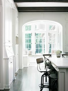 love white walls with dark floors