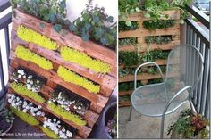Pallets used as planters on a balcony.  finecraftguild.com/recycled-pallets-furniture/