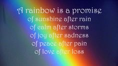 A Rainbow is a promise of sunshine after rain, of calm after storms, of joy after sadness, of peace after pain, of love after loss  (2)