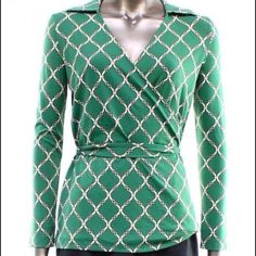 "Midnight in Paris Deep V Top NWT- Midnight in Paris Collection green v-neck and faux wrap top. Chain link pattern, accent belt, and pullover closure with a 3/4 sleeve. Measurements: 25"" length and 18"" across chest. Nylon/Spandex material. Trade/PP Bundle Discounts Charter Club Tops"