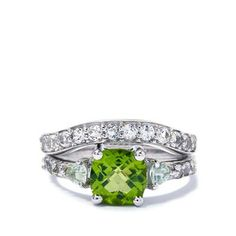Changbai Peridot, Heliodor & White Topaz Sterling Silver Set of 2 Ring ATGW 2.55cts