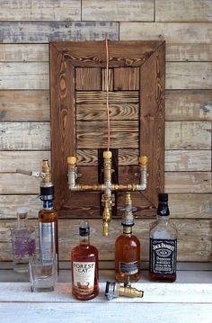 Wine Dispenser On Tap Jack Daniels, Whiskey Dispenser, Alcohol Dispenser, Light Fixtures Bathroom Vanity, Bathroom Wall Lights, Diy Home Bar, Bars For Home, Whisky Spender, Farmhouse Vanity Lights