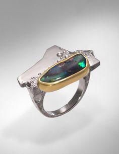Martin Spreng Lagune, Ring White and yellow gold, Australian opal