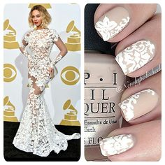 Lacy wedding dress? Match the pattern on your nails, as NewlyPolished did with this Beyonce inspired nail set.