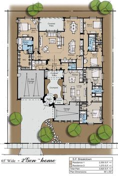 2Gen ranch house Plan. Would need to move garage so as to provide more light to apartment. Apartment as stand alone?