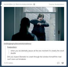 I'm sure Cumberbatch would love to do this scene Sherlock Fandom, Sherlock John, Sherlock Holmes, Sherlock Cumberbatch, Benedict Cumberbatch, Mrs Hudson, Sherlolly, Rupert Graves, Fandoms
