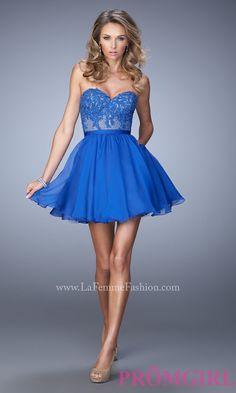 Short Strapless Sweetheart Dress with Lace Embellished Bodice by La Femme Style: LF-22049