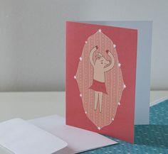 Pig Pirhouette Illustration single Blank Cards - choice of 5 designs via Etsy