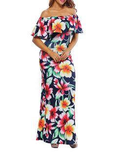 #AdoreWe #JustFashionNow dear-lover Best Memories Dark Blue Off Shoulder Floral Maxi Dress - AdoreWe.com