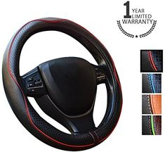 Steering Wheels Covers - Gomass Car Handle Cover Leather Steering Wheel Cover for Car / Truck / SUV, Universal 15 Inch, Black with Red Line #Steering #Wheels #Covers #Gomass #Handle #Cover #Leather #Wheel #Truck #SUV, #Universal #Inch, #Black #with #Line