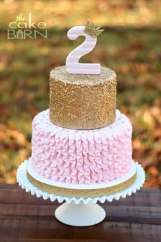 Pink and gold glitter cake fit for a princess