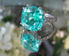Paraiba Tourmaline Diamond Ring Mozambique paraiba tourmaline in Leon Mege French cut ring