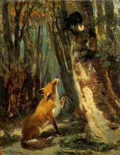 Théodore Rousseau (1812-1867) - Aesop's fable; The fox and the raven