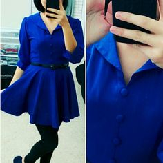 13✂Royal Blue DressHP PRICE IS FIRM!! (Seeon TITLE) This is the lowest of the lowest I can do!! Moving SOON, Trying to DOWNSIZE ➖➖➖➖➖➖➖➖➖  * Gorgeous!!  * 3/4 sleeve, elastic waist, button accents, cute collar. * Light-weight, the color is gorgeous! So eye-catching and head-turning. Must have!! * Perfect for a date night  * Bought this in a boutique, worn two times only. In good condition. * Fits for XS and S. Dresses Mini