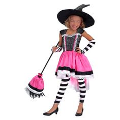 Halloween Girls' Luna the Witch Child Costume - L(10-12), Size: Large, Pink