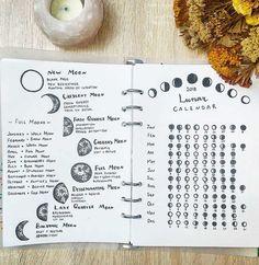 Moon phases and their energy + a lunar calendar new moon rituals, full moon ritua Bullet Journal Notebook, Bullet Journal Spread, Bullet Journal Ideas Pages, Bullet Journal Inspiration, Grimoire Book, Moon Calendar, Pagan Calendar, Astrology Calendar, Calendar Journal