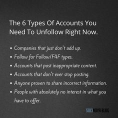 Get your social media profiles organised and unfollow the accounts that have nothing for your brand. Here's a list.