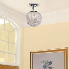 Hampton Bay, Bellefont 1-Light Polished Nickel Crystal Ball Semi-Flush Mount, 18123-000 at The Home Depot - Mobile