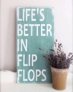 Flip flop hand painted wooden sign on Etsy, $26.00