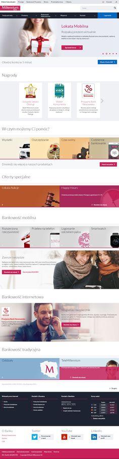 Strona Klienci indywidualni banku Millenium. Łatwa w nawigacji, czytelna, przejrzysta. #web #design #business #banking #webdesign