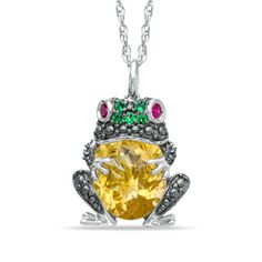 Lab-Created Multi-Gemstone Frog Pendant in Sterling Silver. Stephen needs to so get this for me lol
