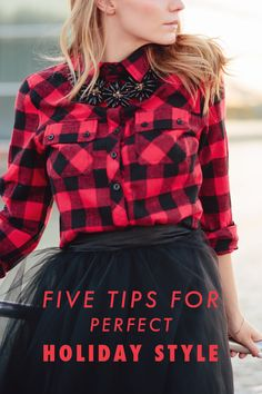 red buffalo check shirt, black tulle skirt, statement necklace // holiday style