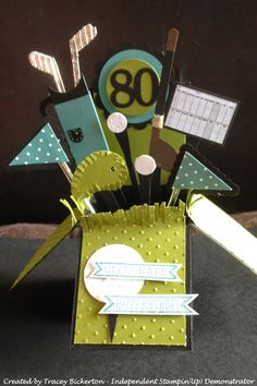 Tracey's Papercraft Creations: Golf Themed Card in a Box Card created for a… Card In A Box, Pop Up Box Cards, 3d Cards, Cool Cards, Stampin Up Cards, Card Boxes, 80th Birthday Cards, Masculine Birthday Cards, Masculine Cards