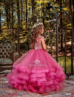 The Casablanca Flower Girl Dress For Wedding by MB Boutique Canada. The Casablanca flower girl dress features a satin bodice with short-sleeved top embroidered with textured lattice lace all-over, while beaded floral appliques embellish the natural waist. Pink Flower Girl Dresses, Little Girl Dresses, Girls Dresses, Fuchsia Flower, Girls Party Dress, Baby Dress, Kids Gown, Kids Frocks, Communion Dresses